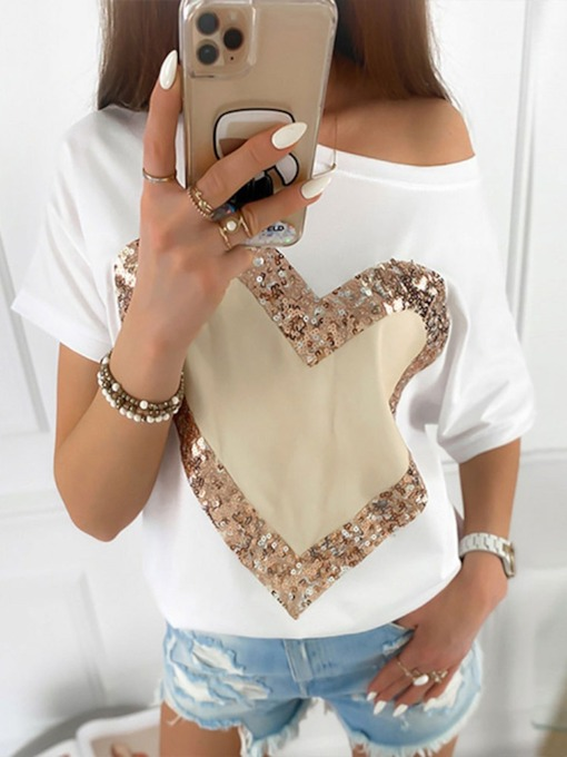 Short Sleeve Off Shoulder Heart Shaped Standard Summer Women's T-Shirt