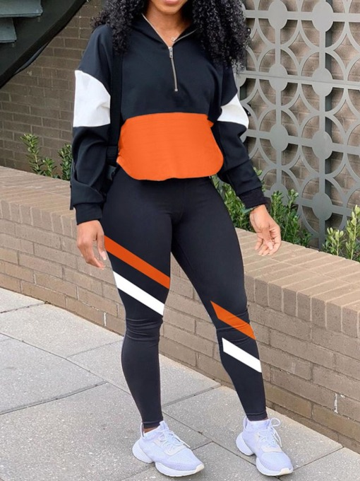 Ankle Length Pants Color Block Zipper Sports Pencil Pants Women's Two Piece Sets