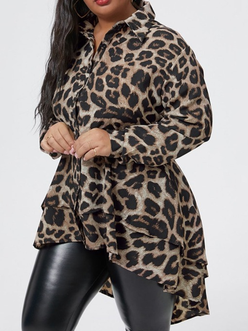 Leopard Print Lapel Mid-Length Women's Blouse