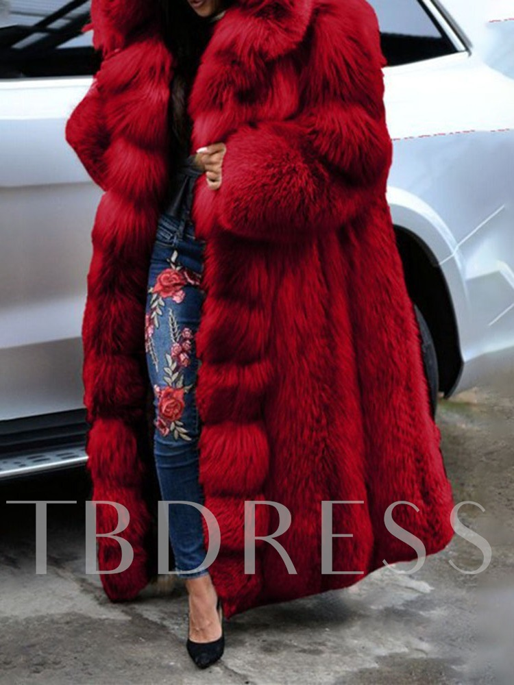 Plain Long Hooded Thick Women's Faux Fur Overcoat