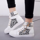 Zipper Cross Strap Round Toe Plain Sneakers