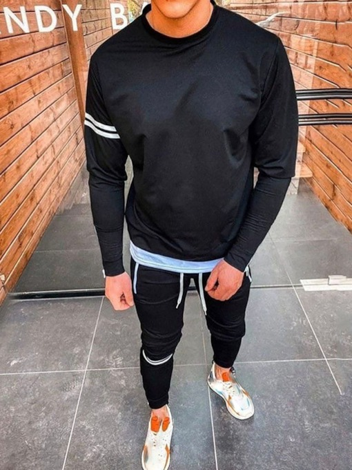 Color Block Pants Patchwork Sports Fall Men's Outfit