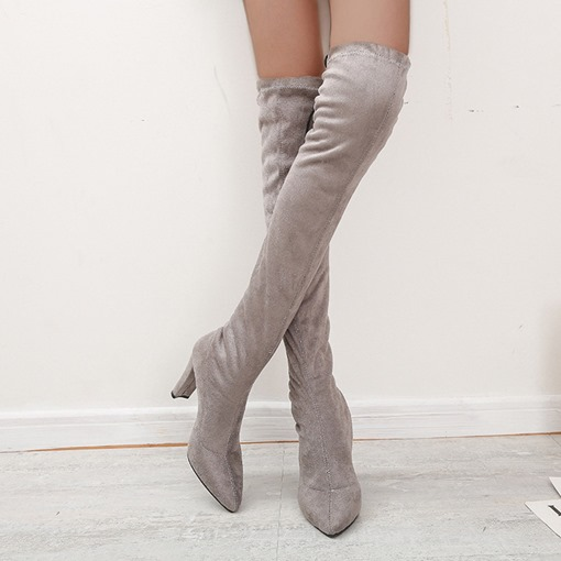 Slip-On Plain Pointed Toe Chunky Heel Thread Boots