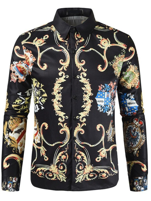 Print Lapel Floral European Single-Breasted Men's Shirt