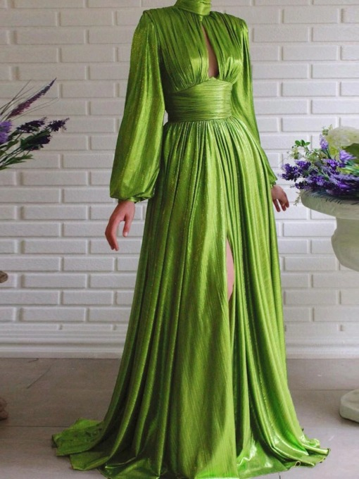 Pleated Long Sleeve Stand Collar Floor-Length Plain Female's Dress