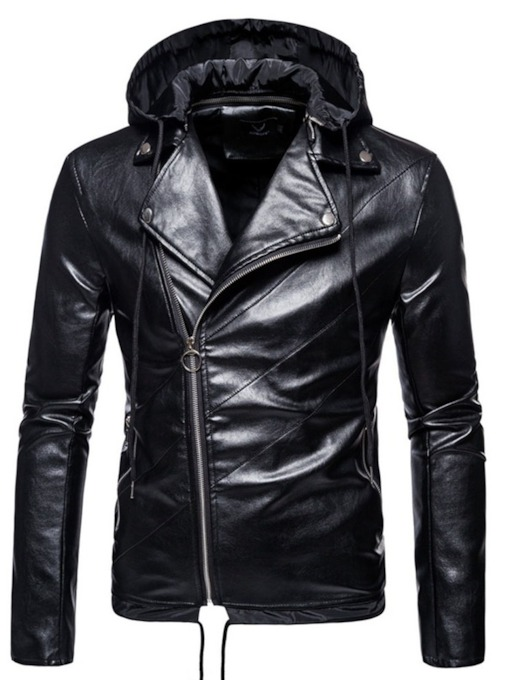 Standard Lapel Plain Slim Men's Leather Jacket