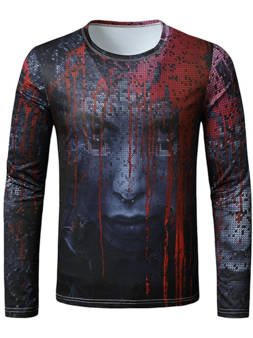 Print European Round Neck Pullover Men's T-shirt