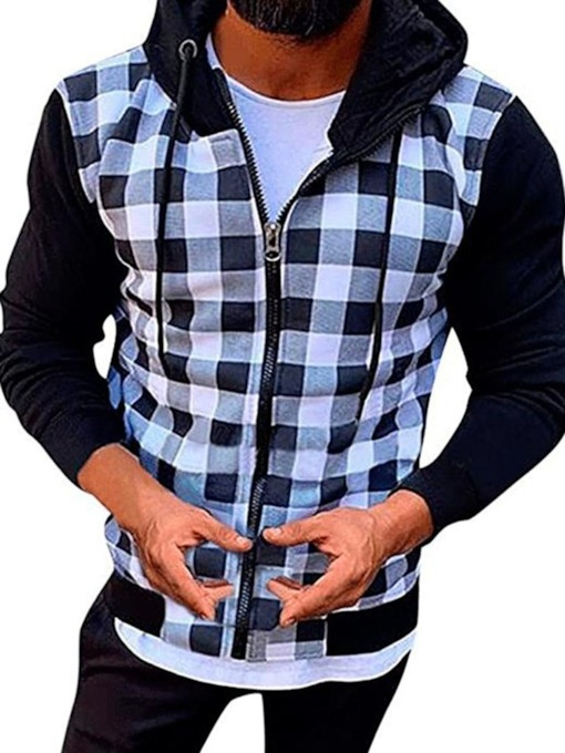Plaid Cardigan Patchwork Casual Men's Hoodies