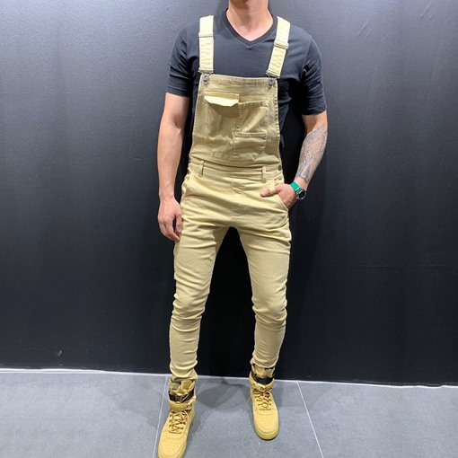 Plain Suspenders Full Length Casual Men's Jumpsuits/Overalls