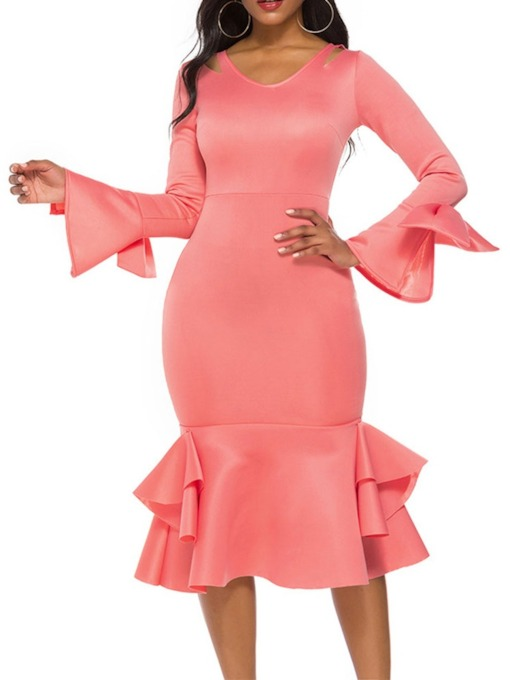 Mid-Calf V-Neck Hollow Long Sleeve Party/Cocktail Women's Dress