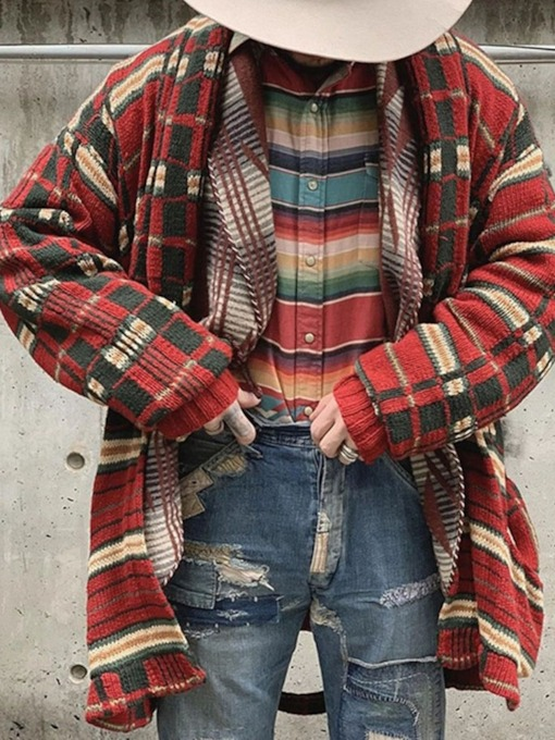 Plaid Mid-Length Winter Men's Sweater