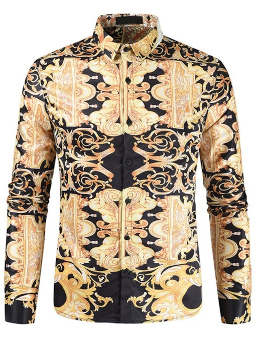 European Lapel Floral Print Spring Men's Shirt