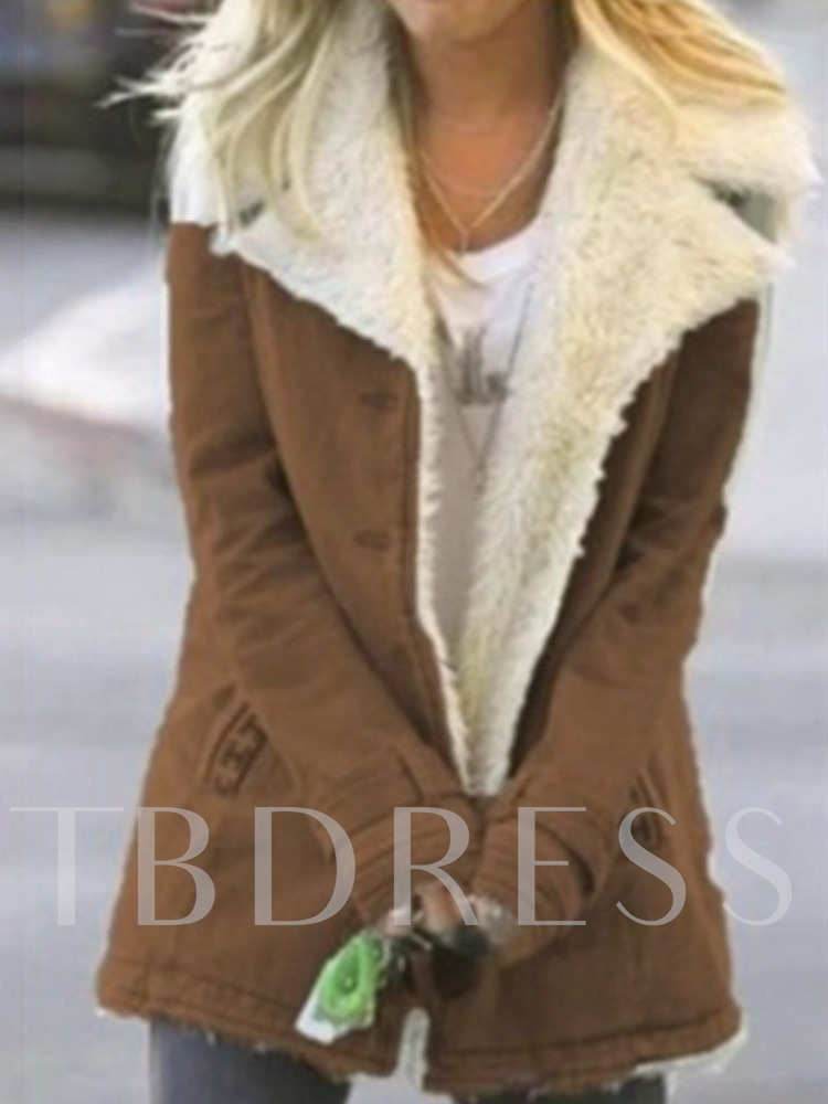 Single-Breasted Button Slim Mid-Length Women's Cotton Padded Jacket