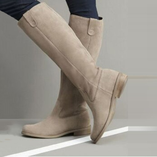 Round Toe Block Heel Plain Side Zipper Western Boots