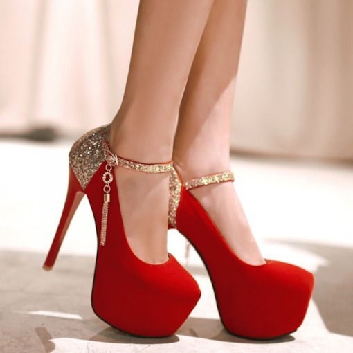 Line-Style Buckle Stiletto Heel Round Toe Sequin 13cm Thin Shoes