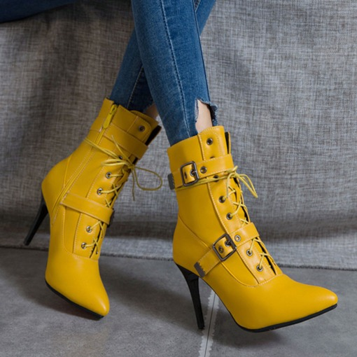Side Zipper Stiletto Heel Plain Pointed Toe Western Boots
