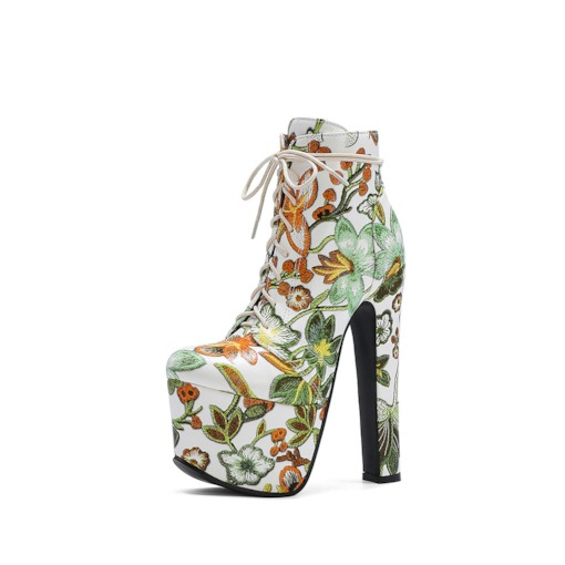 Side Zipper Chunky Heel Floral Round Toe Lace-Up Boots