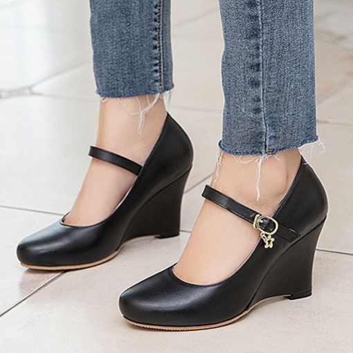 Round Toe Line-Style Buckle Wedge Heel Low-Cut Upper Thin Shoes