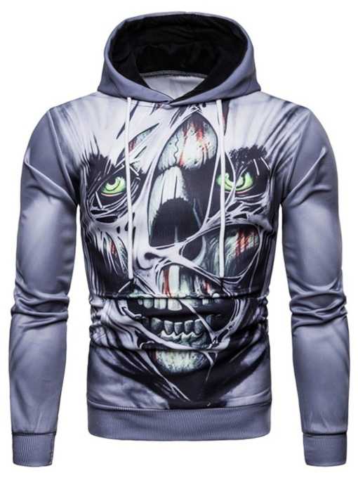 Skull Print Pullover Winter Men's Hoodies