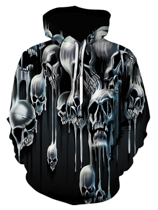 Print Skull Pullover European Men's Hoodies