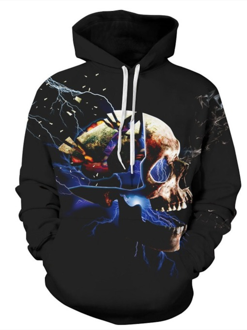 Print Pullover Skull Hooded Men's Hoodies