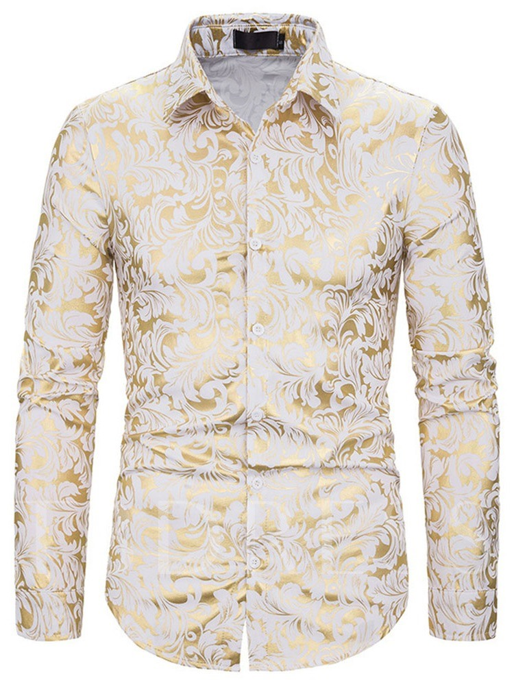 Print Floral Lapel European Single-Breasted Men's Shirt