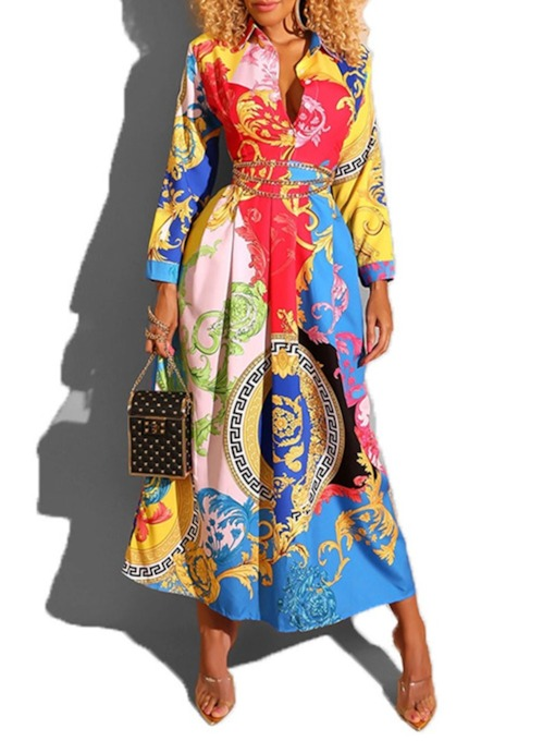 Long Sleeve Print Lapel Ankle-Length Single-Breasted Women's Dress