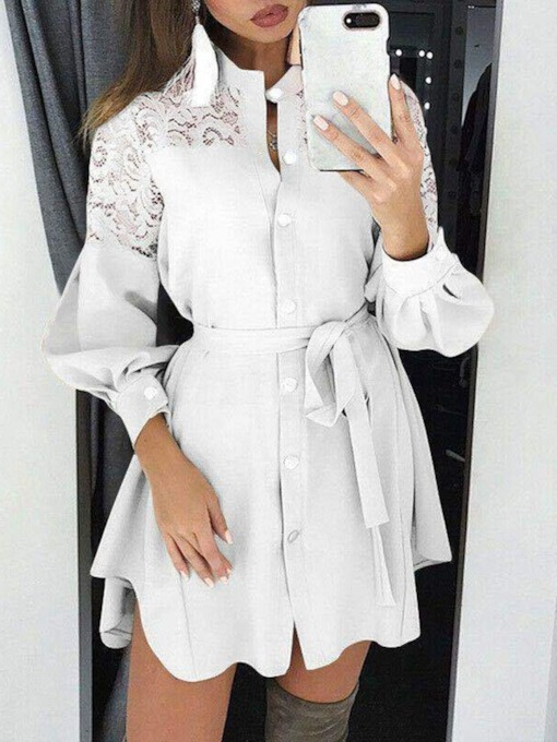 Above Knee Stand Collar Lace-Up Long Sleeve Date Night/Going Out Women's Dress