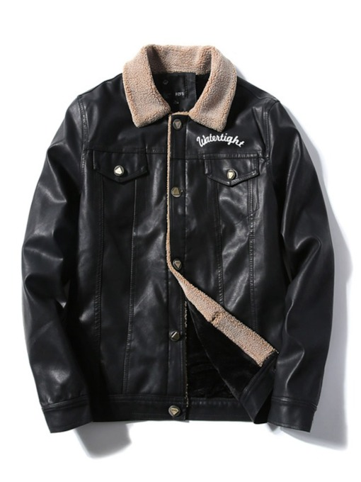 Lapel Letter Standard European Men's Leather Jacket