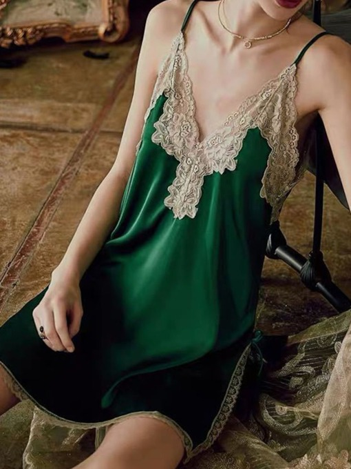 Lace Color Block Sleeveless Women's Nightgowns