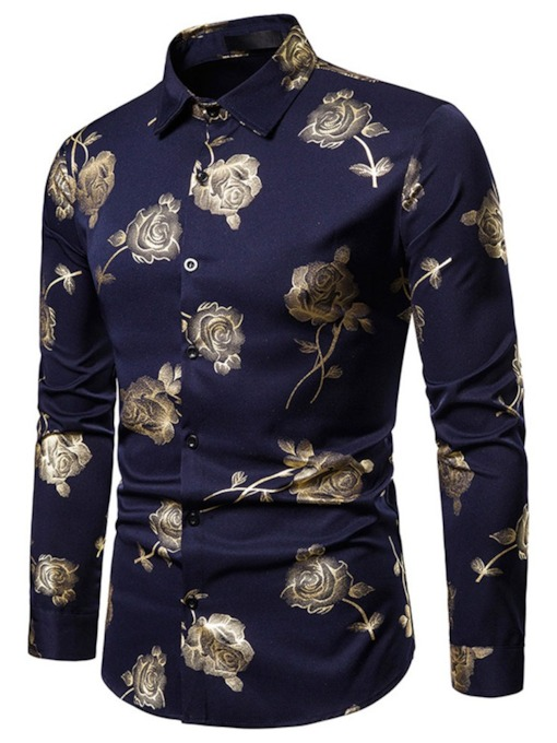 European Floral Lapel Print Single-Breasted Men's Shirt