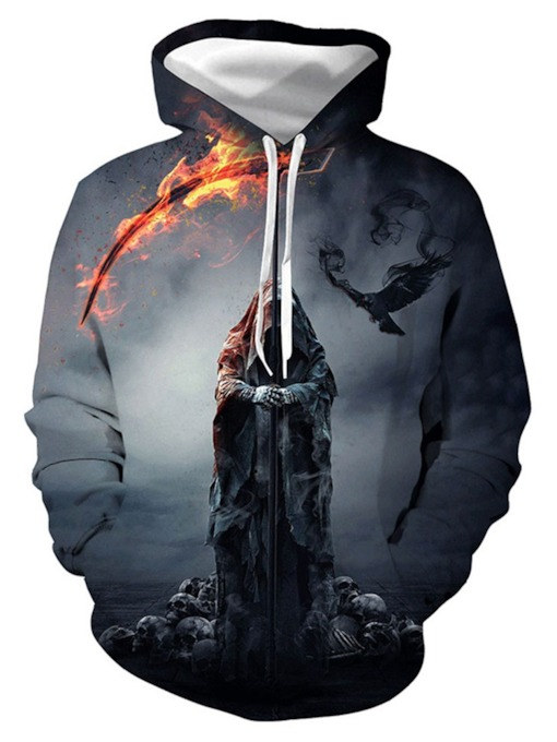 European Print Pullover Fall Men's Hoodies
