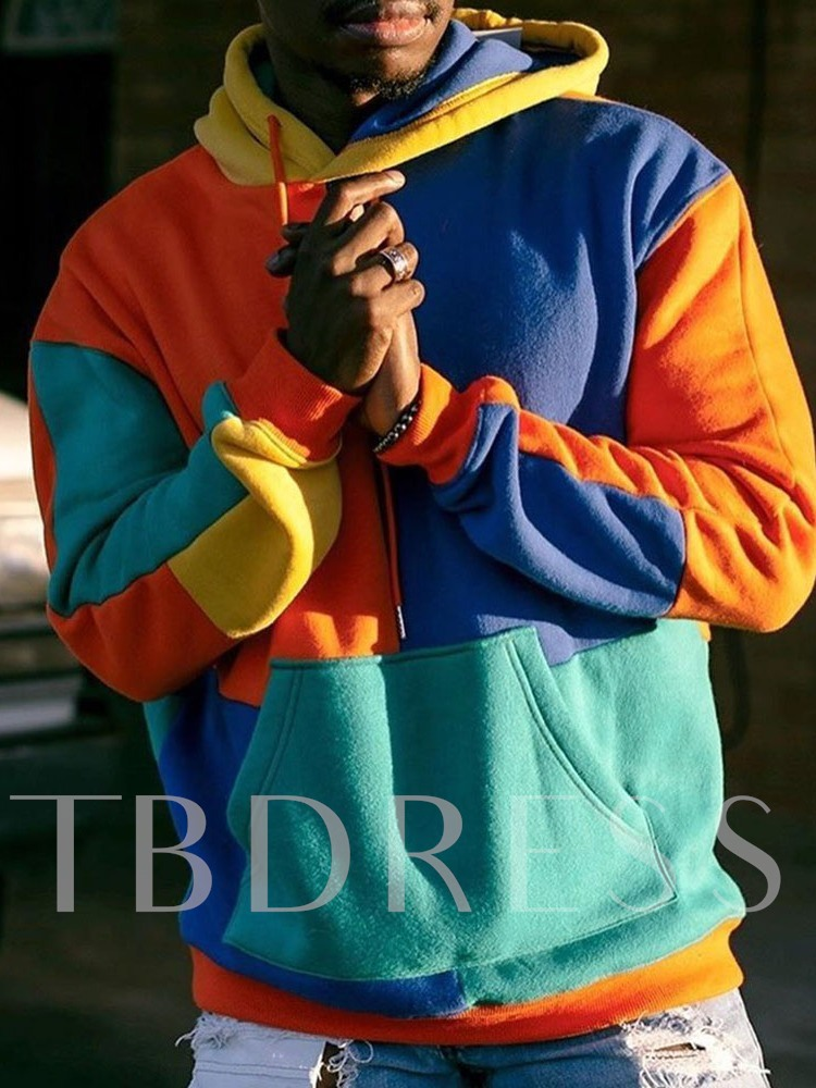 Pullover Patchwork Color Block Casual Men's Hoodies