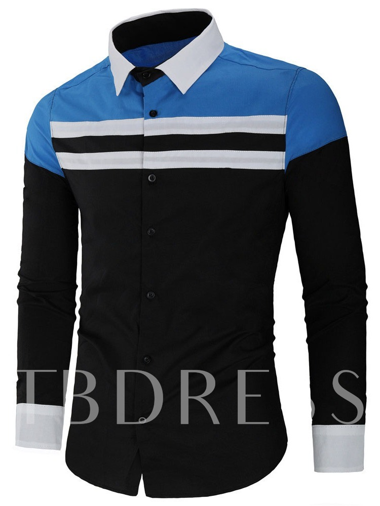 Lapel Casual Patchwork Color Block Fall Men's Shirt
