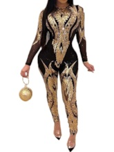 Sequins Full Length Casual Slim Women's Jumpsuit