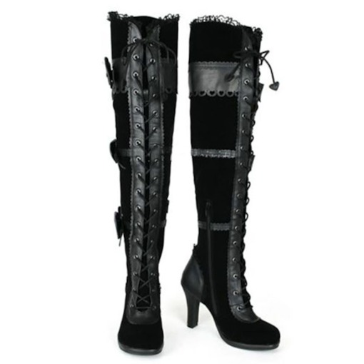 Side Zipper Patchwork Round Toe Chunky Heel PU Boots