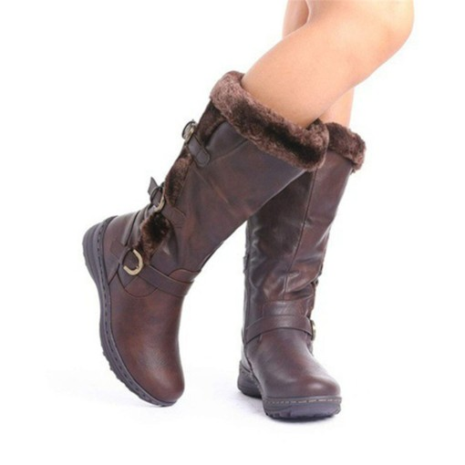 Side Zipper Wedge Heel Patchwork Round Toe Casual Boots