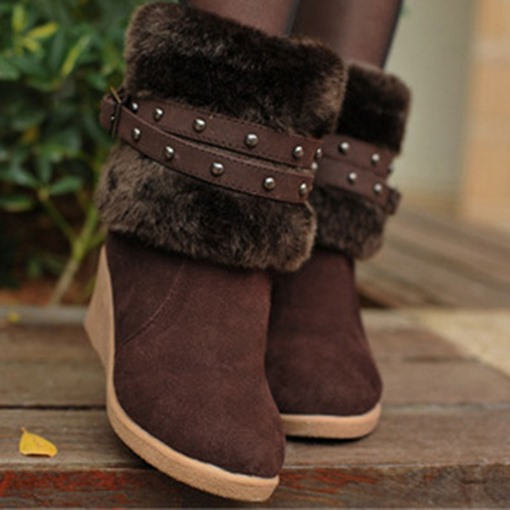 Wedge Heel Slip-On Round Toe Patchwork Plush Boots
