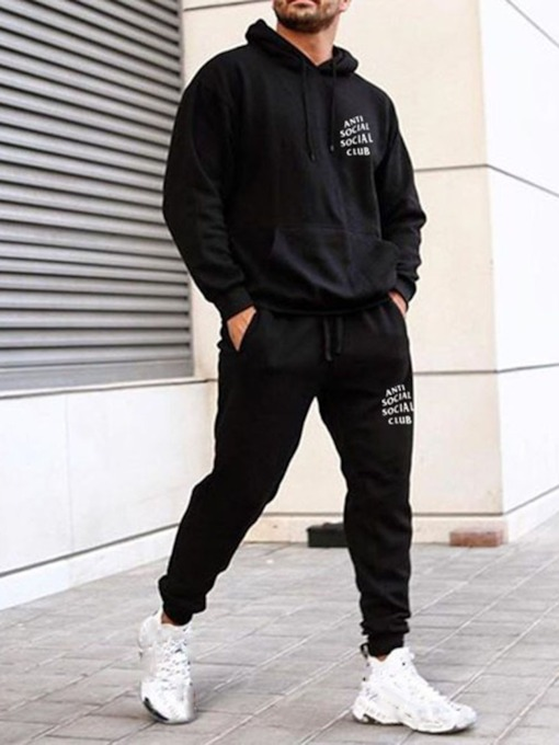Letter Print European Hoodie Fall Men's Outfit