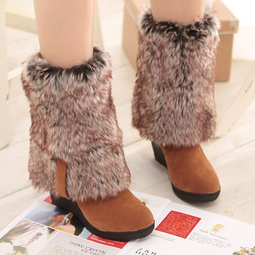 Plain Round Toe Wedge Heel Slip-On Casual Boots