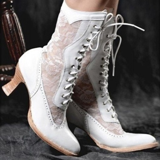 Round Toe Patchwork Lace-Up Front Vintage Boots
