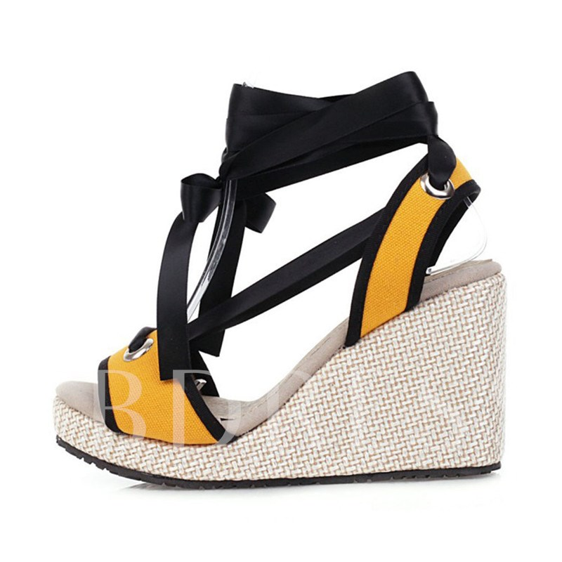 Open Toe Wedge Heel Ankle Strap Lace-Up Color Block Sandals