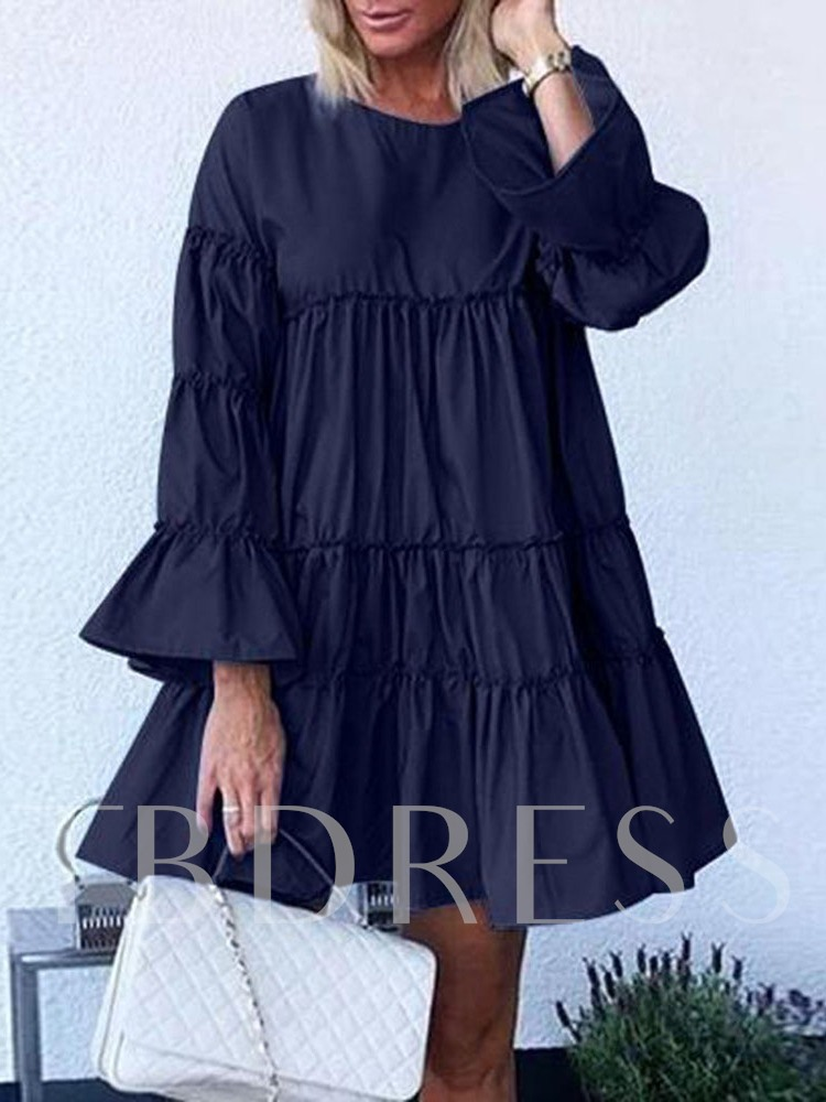 Above Knee Round Neck Long Sleeve Pleated Casual Women's Dress