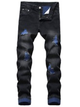 Color Block Straight Hole Casual Men's Jeans