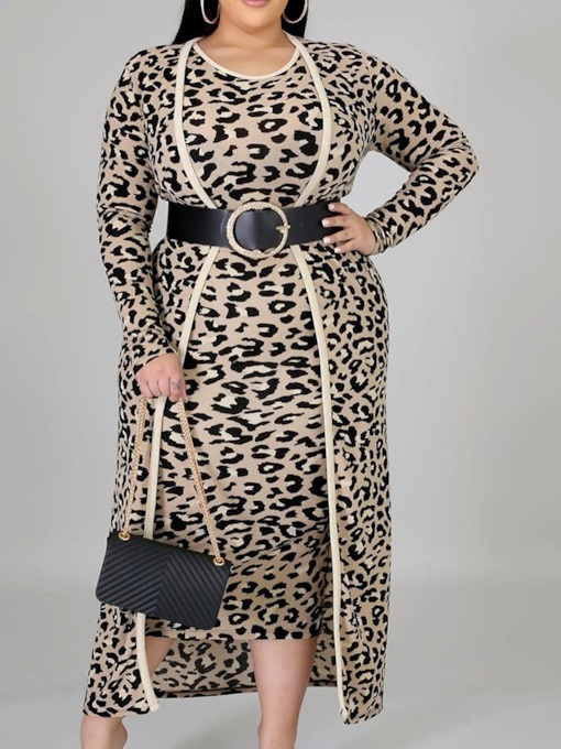 Leopard Coat Fashion Bodycon Women's Two Piece Sets