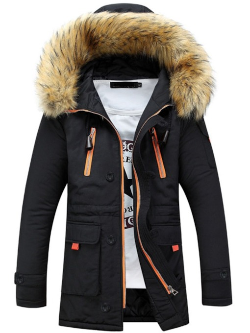 Zipper Color Block Hooded Mid-Length Zipper Men's Down Jacket