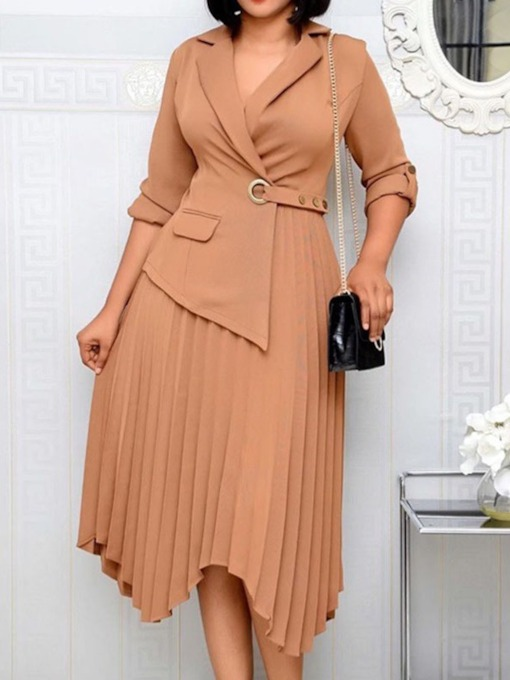 Mid-Calf Pleated Three-Quarter Sleeve Notched Lapel Fashion Women's Dress