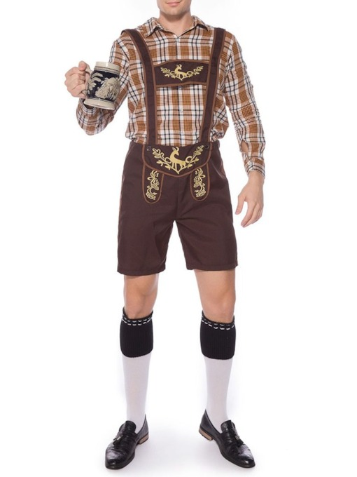 Suspenders Plaid Profession Long Sleeve Men's Costumes