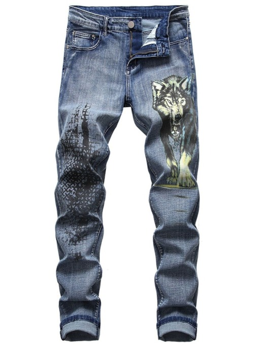 Animal Print Mid Waist Men's Jeans