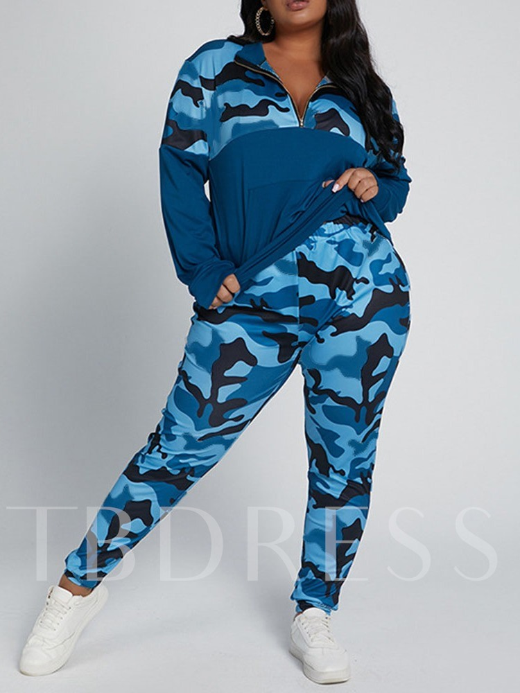 Hoodie Camouflage Print Sports V-Neck Women's Two Piece Sets